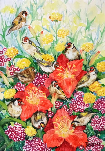 Striking Watercolor Painting Summer flowers and Birds 29.5x42cm