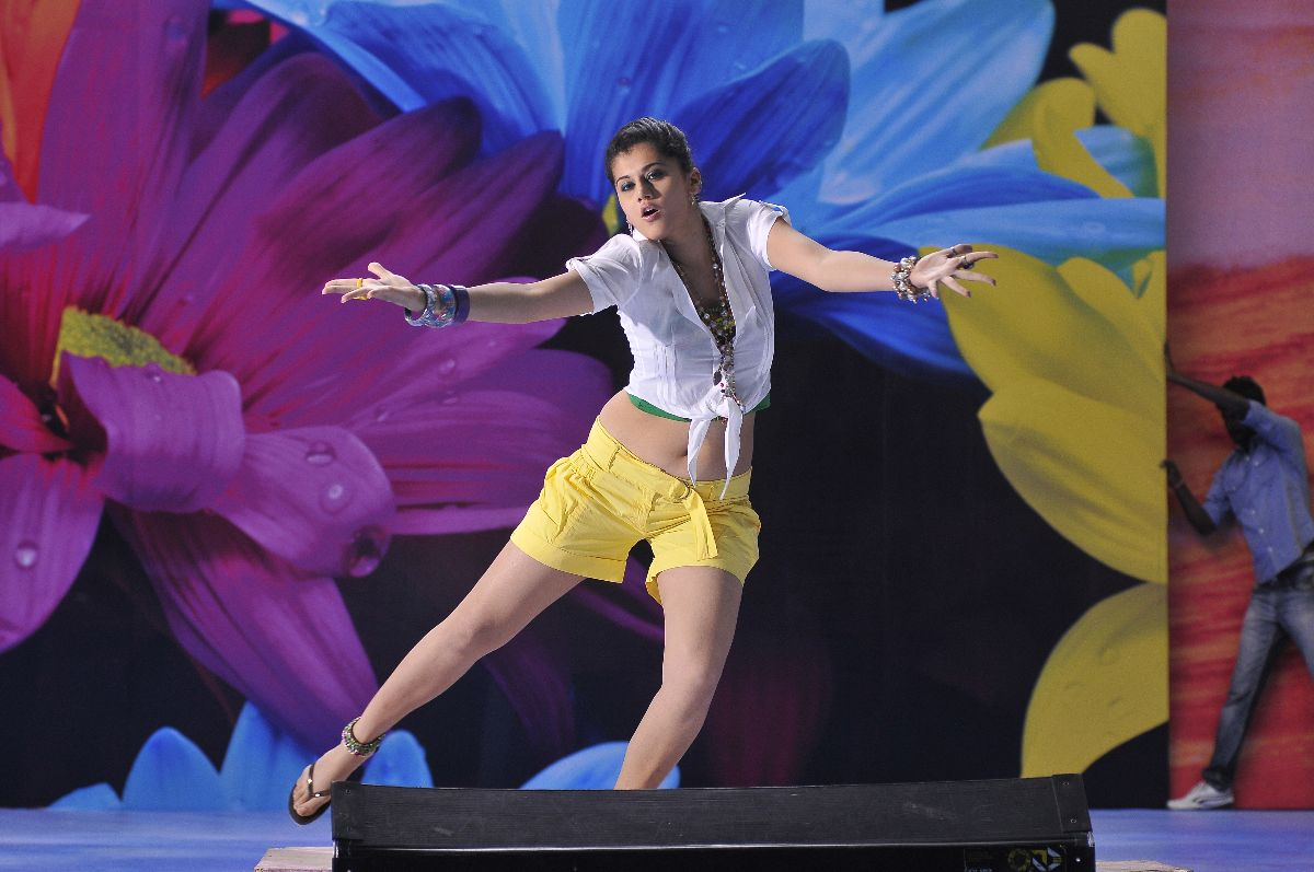 Tapsee Pannu in blue shorts, white top - Tapsee Veeraiah Stills