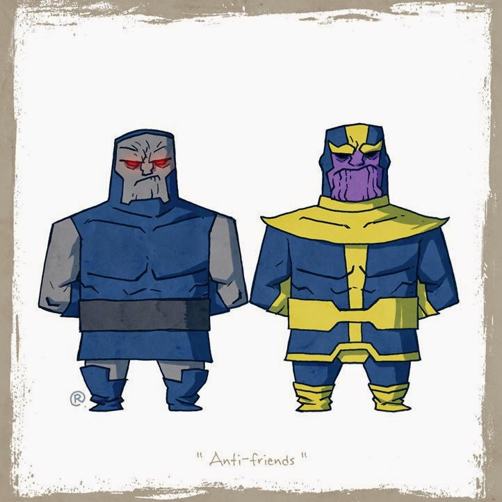 Darkseid and Thanos standing irritated  side by side.