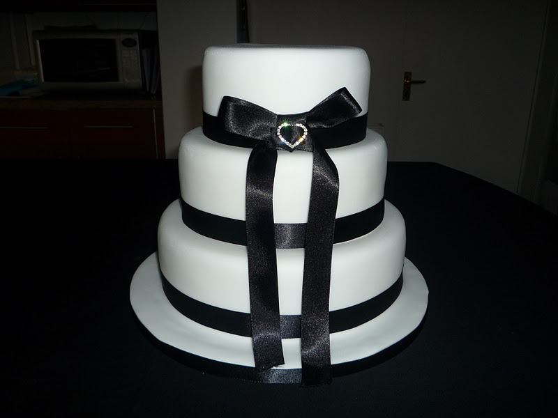 Budget Wedding Cake 3 Tier Sponge Cake with ribbon and brooch type detail