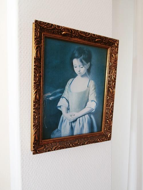 Gemälde Mädchen Vintage Flohmarkt Gold