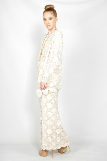 Vintage white lace maxi dress with drop waist and side slit leg opening.