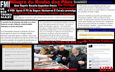 Austeridade; Avaliação da Economia Portuguesa; FMI; Medidas; Baixar Salários; Aplicar em Portugal; Milagre do Roubo dos Pães; Aplicado na Grécia