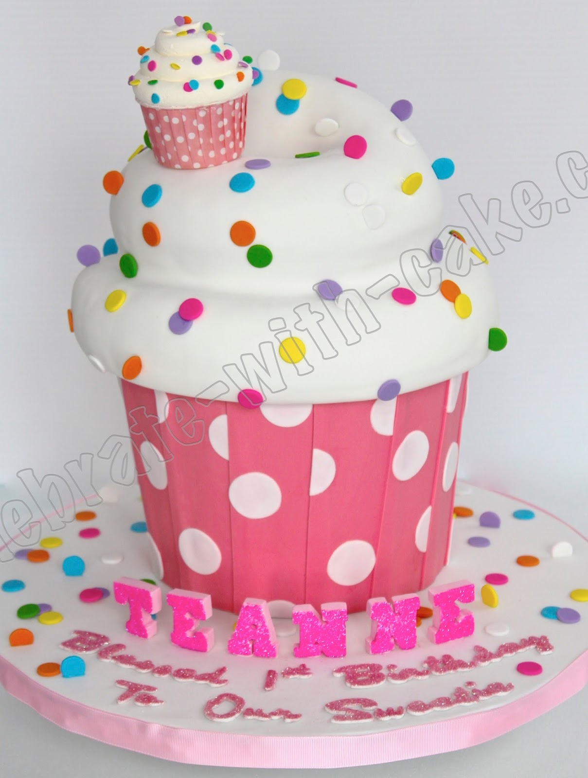 Celebrate With Cake 1st Birthday Giant Cupcake Sculpted Cake