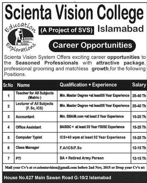 Teachers & Admin Jobs in Scienta Vision College Islamabad