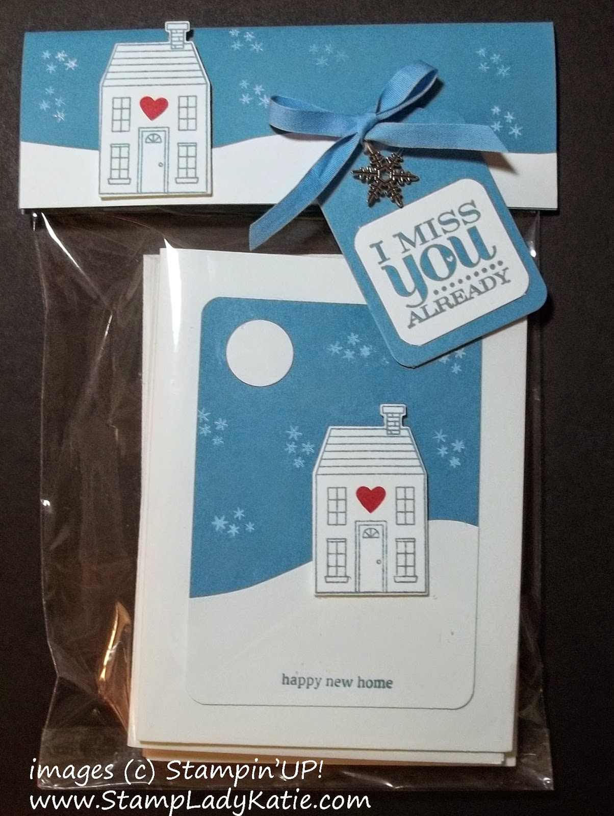Package of cards made with the Holiday Home Stamps and Framelits.