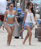 Selena Gomez  wearing short shorts and her friend Francia Raisa wearing a tiny bikini