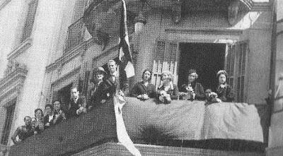 Izado de la bandera del Club Ajedrez Barcelona en 1933