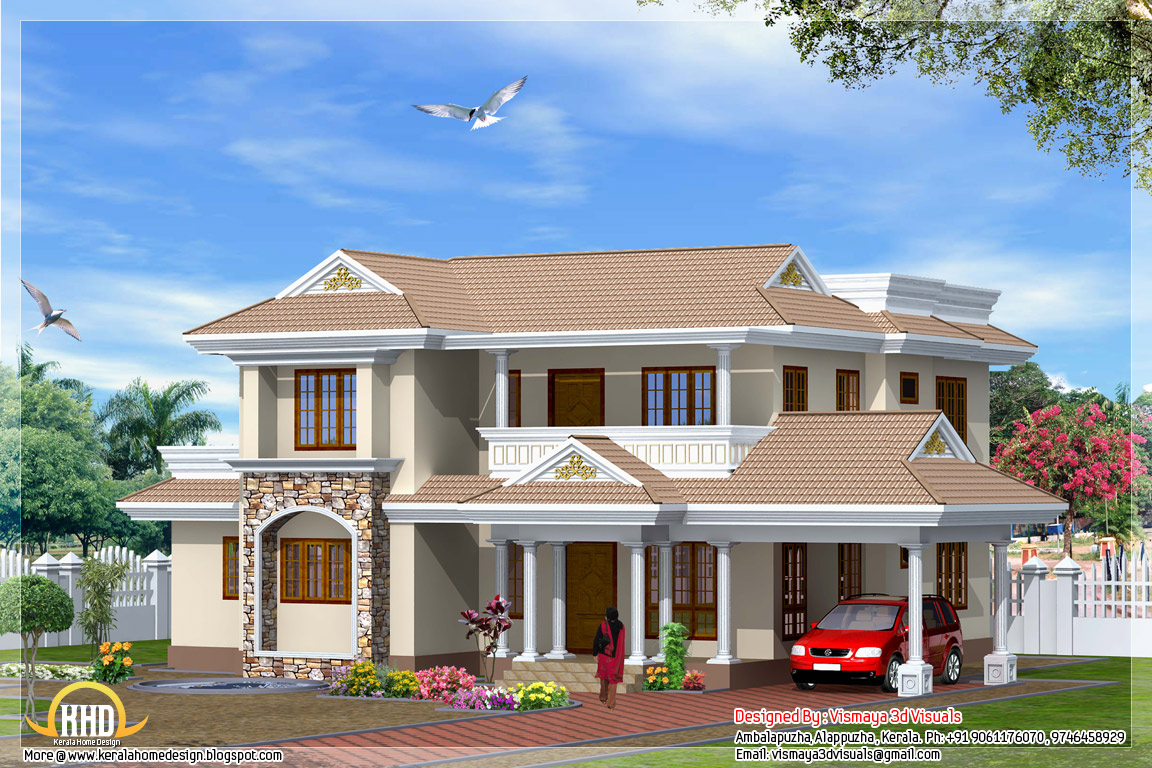 Indian style 4 bedroom home design 2300 sq ft home House designs indian style pictures
