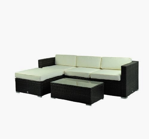 outsunny deluxe outdoor patio pe rattan wicker 5 pc sofa. Black Bedroom Furniture Sets. Home Design Ideas