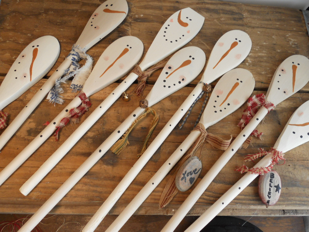 Craft booth 555 snowman pumpkin wooden spoons for Wooden spoons for crafts