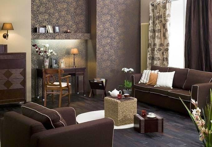 15 fotos de salas marr n chocolate colores en casa for Papel pintado marron chocolate