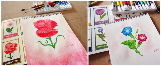 Art Li and Stuff -  Carnation and Morning Glory watercolour paintings
