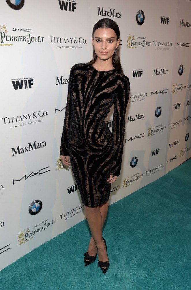 Emily Ratajkowski in a Tom Ford dress at the 8th Annual Women in Film Pre-Oscar Cocktail Party in LA