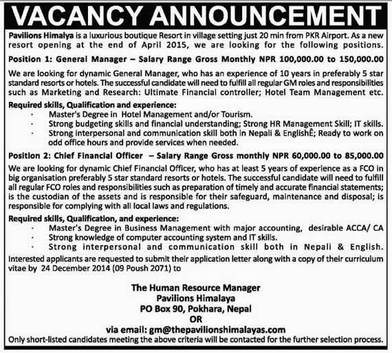 Vacancy announcement: Pavilions Himalaya. a luxurious boutique resort