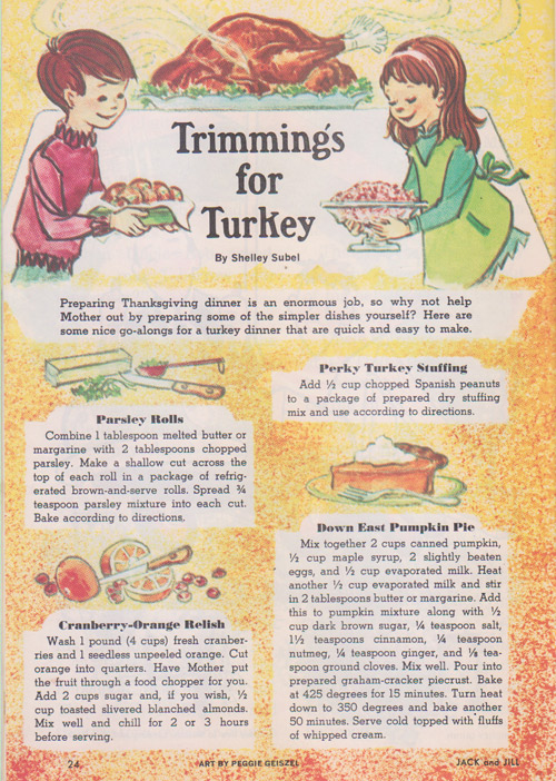 vintage childrens recipes thanksgiving turkey dinner cooking