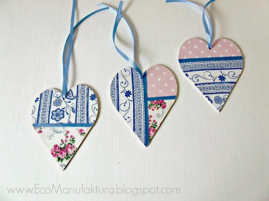 pastelowe serca decoupage - dekoracja na walentynki Eco manufaktura