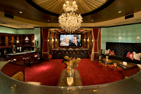 high tech home theater design with leather decor