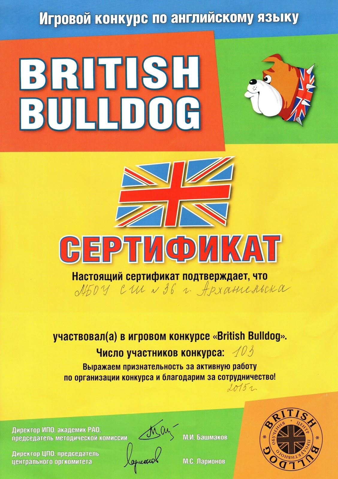 Результата конкурса британский бульдог