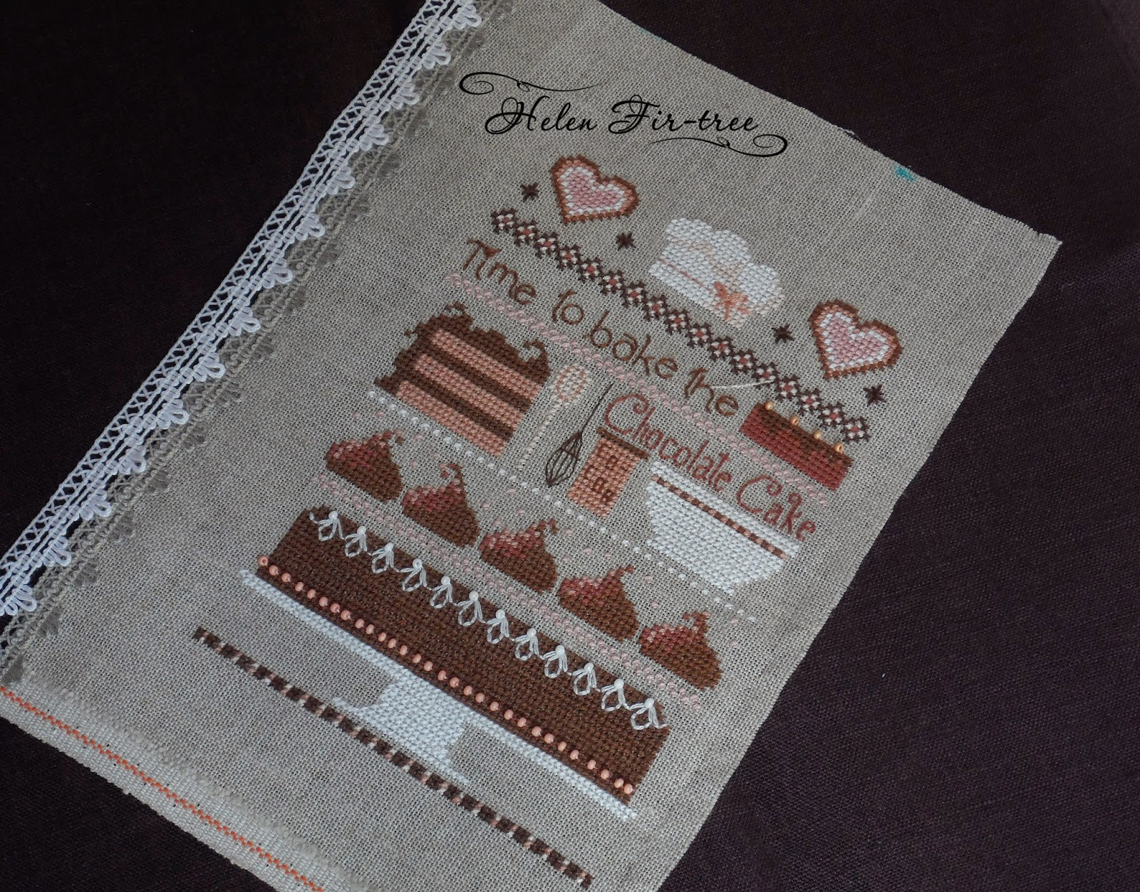 Helen Fir-tree вышивка блокнота embroidery notepad Chocolate cake sampler