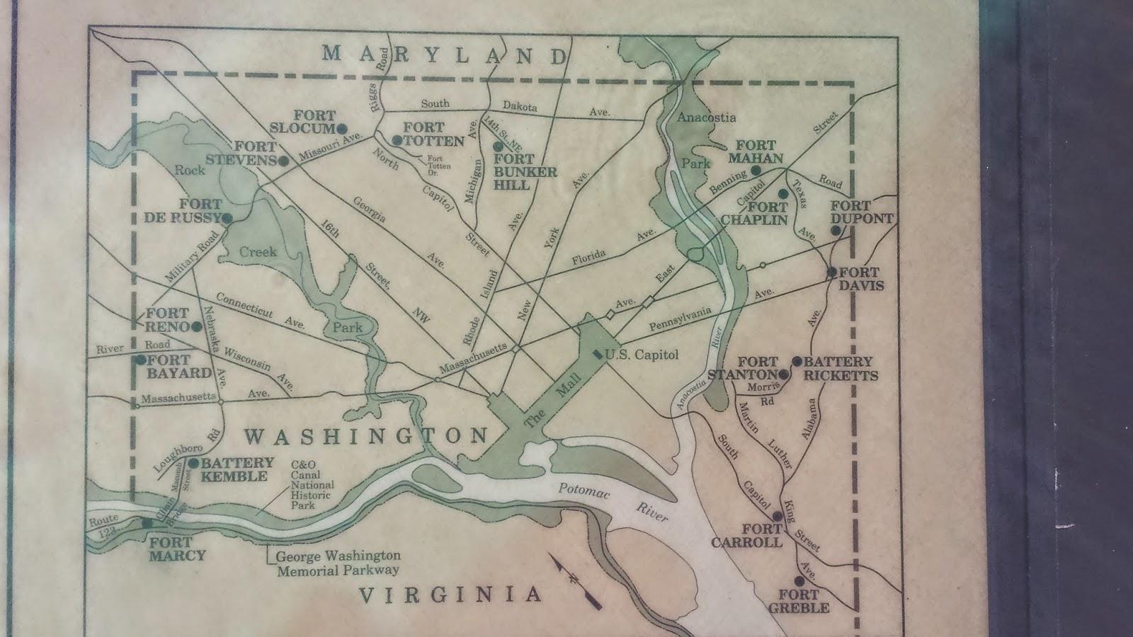 civil war defenses of washington map