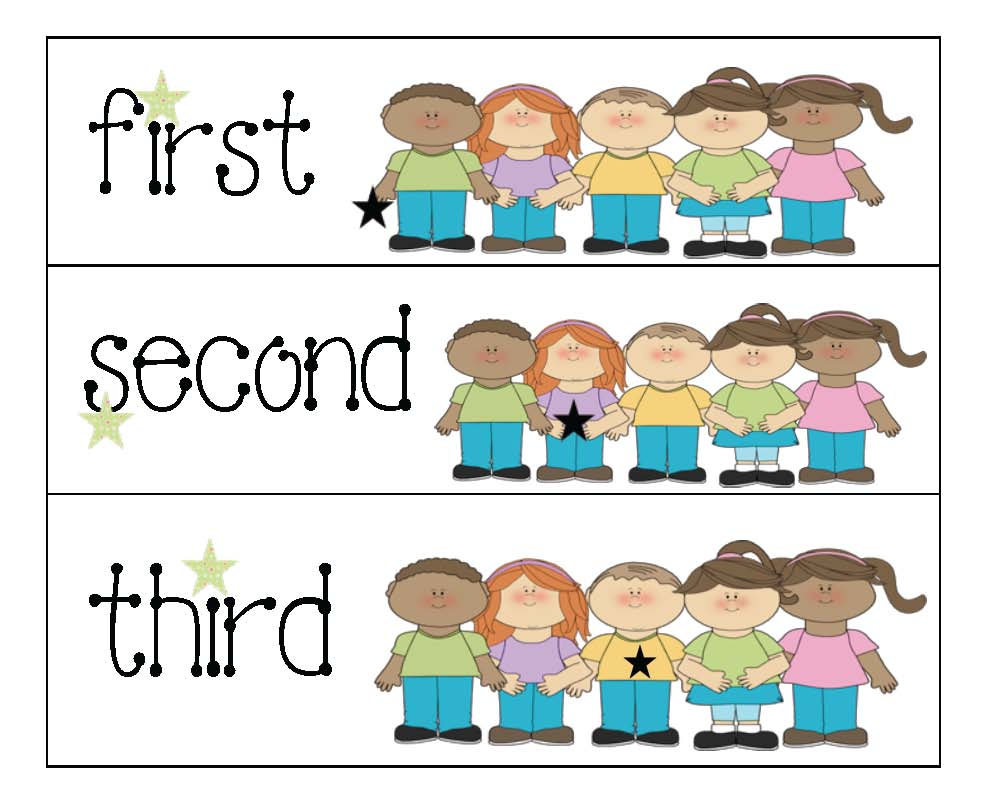 Help teach ordinal numbers with these cute kid cards.