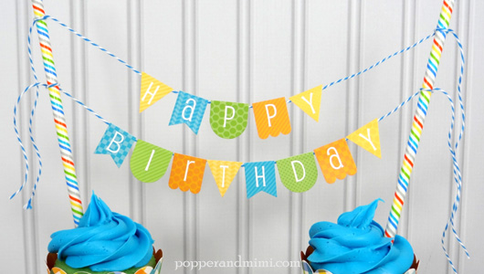 Cupcake Mini Birthday Banner | popperandmimi.com