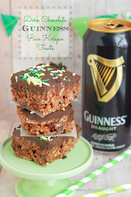 Dark Chocolate Guinness Rice Krispie Treats by The Sweet Chick