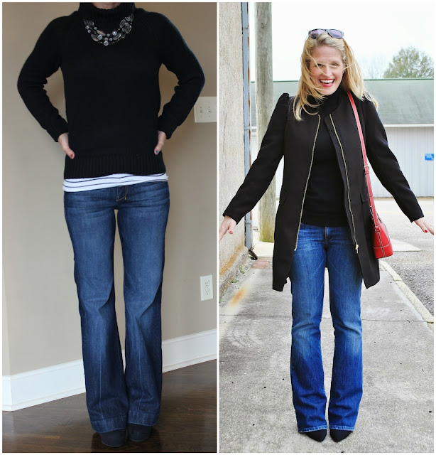 fall outfit inspiration, flared jeans, look for less, casual fall or winter outfit