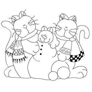 Risco para pintura de gatinhos