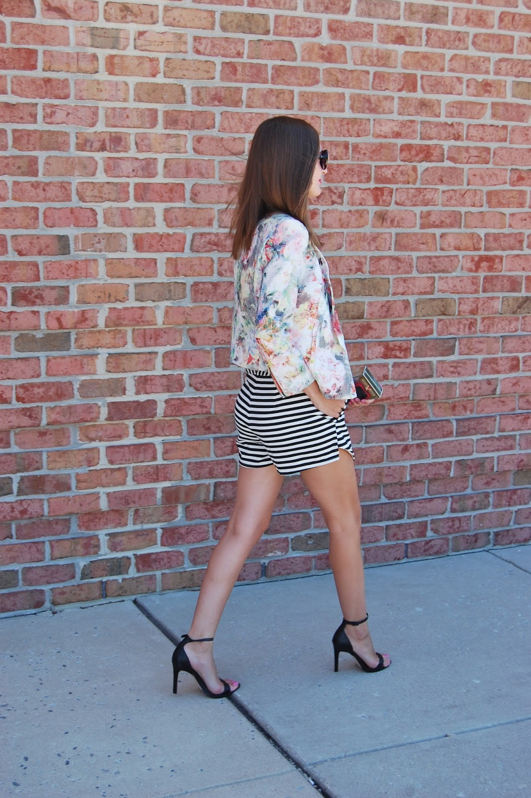 Wearing Zara floral blazer, The Mint Julep Boutique Striped Skort, Zara Black ankle strap heels. Skort trend 2014, pattern mixing