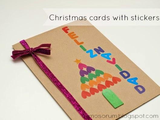 Tarjeta de Navidad con Pegatinas. Christmas Cards with Stickers