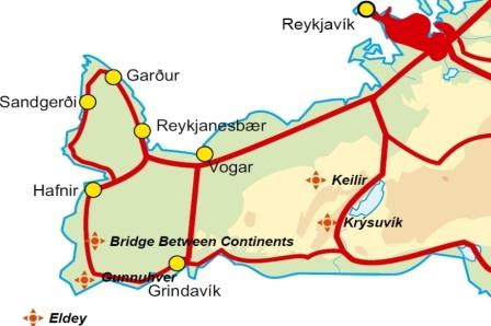 Mapa de Eldey península de reykjanes