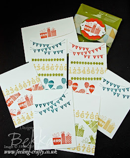 Patterned Party Note Card Set by Stampin' Up! Demonstrator Bekka Prideaux for a Card Class - check out her fun Card Making Classes