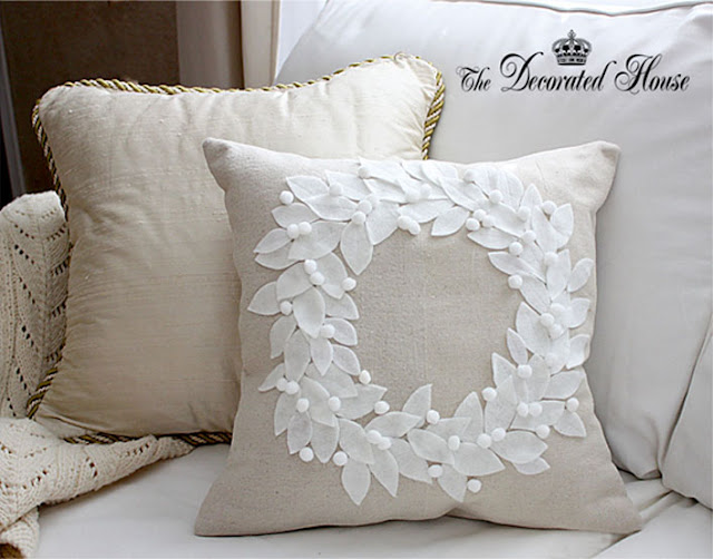 The Decorated House - How To Make a Pottery Barn Wreath Pillow