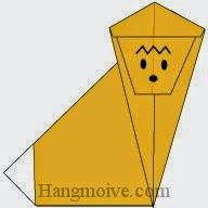 Bước 10: Vẽ mắt, mũi để hoàn thành cách xếp con khỉ bằng giấy theo phong cách origami.