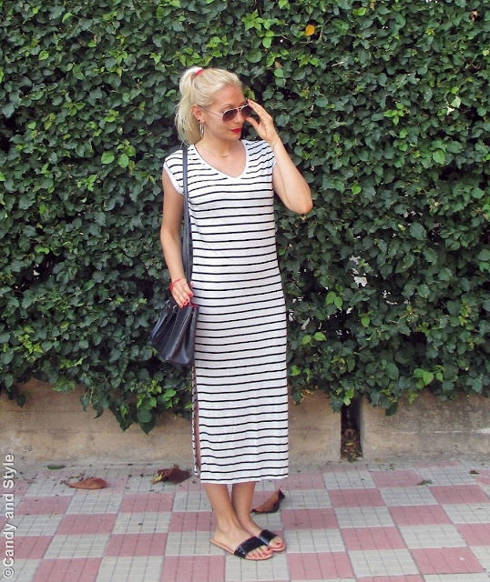 AviatorShades+StripedDress+BlackSlides+HighPonytail+RedLips - Lilli Candy and Style Fashion Blog