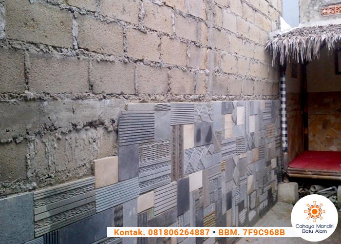 batu alam kombinasi untuk tembok pagar modern dengan