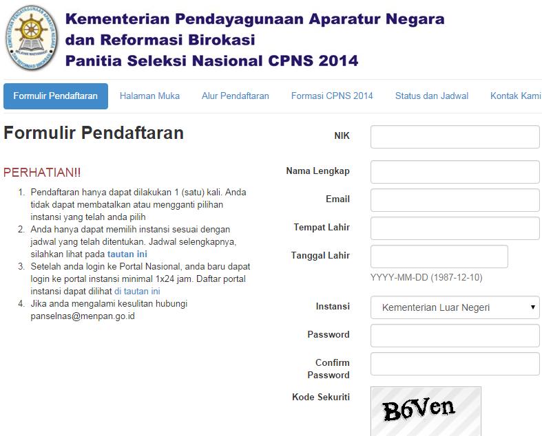 Formulir Registrasi CPNS Kemenlu Online 2014