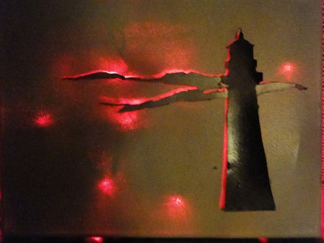 Lighthouse Backlit Painting by Charity Luthy