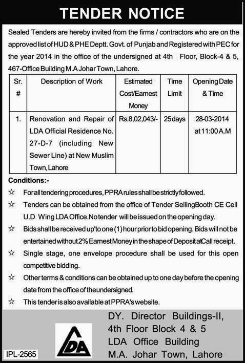 Hud and Phe Department Lahore Tender Notice