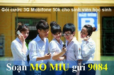 Đăng ký gói Miu 3G Mobifone 50k cho sinh viên học sinh
