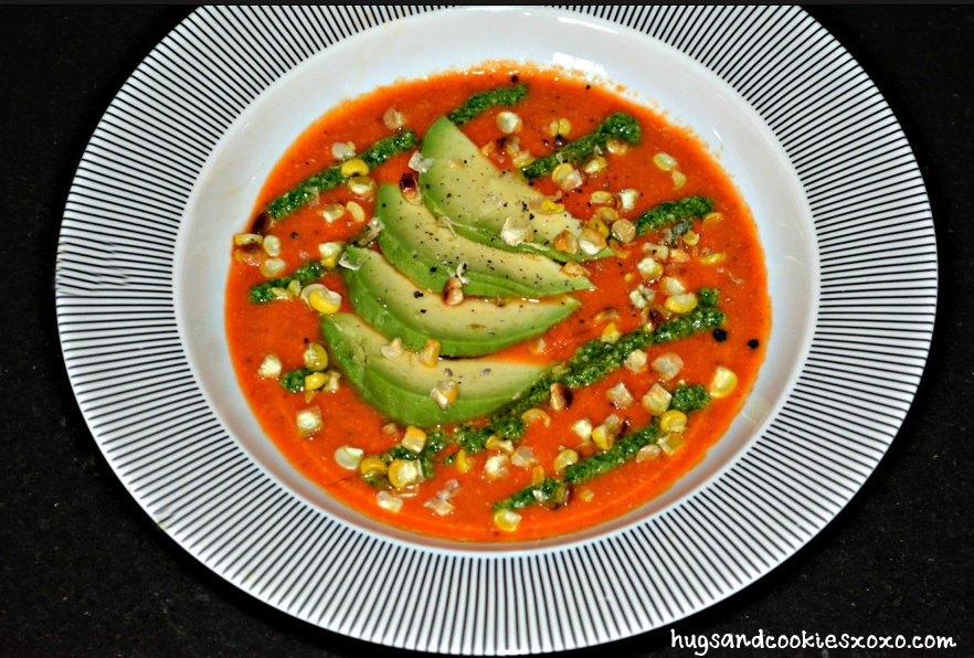 ROASTED CORN, TOMATO & PEPPER SOUP TOPPED WITH PESTO ...