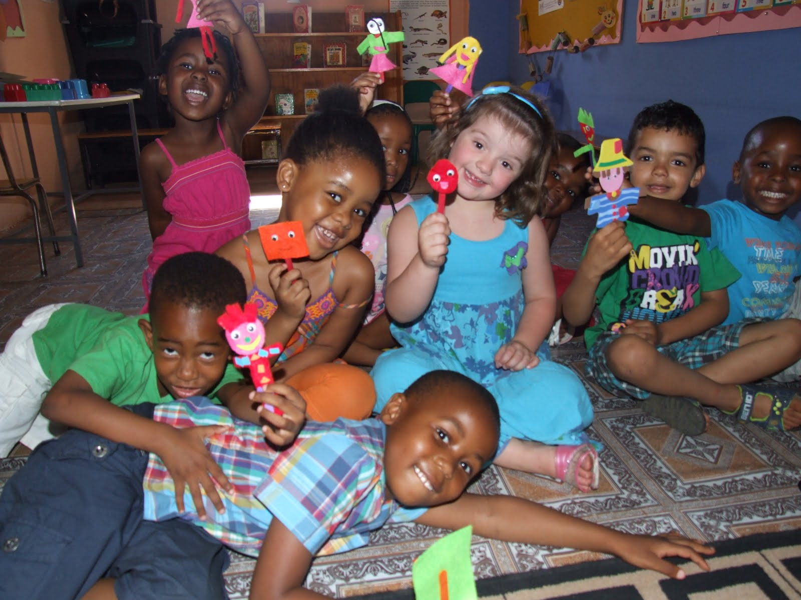 Here We Have The Playmates Nursery School Children Showing Off Their Beautiful Puppets They Made To Use In My Family Lesson And Had Lots Of Fun
