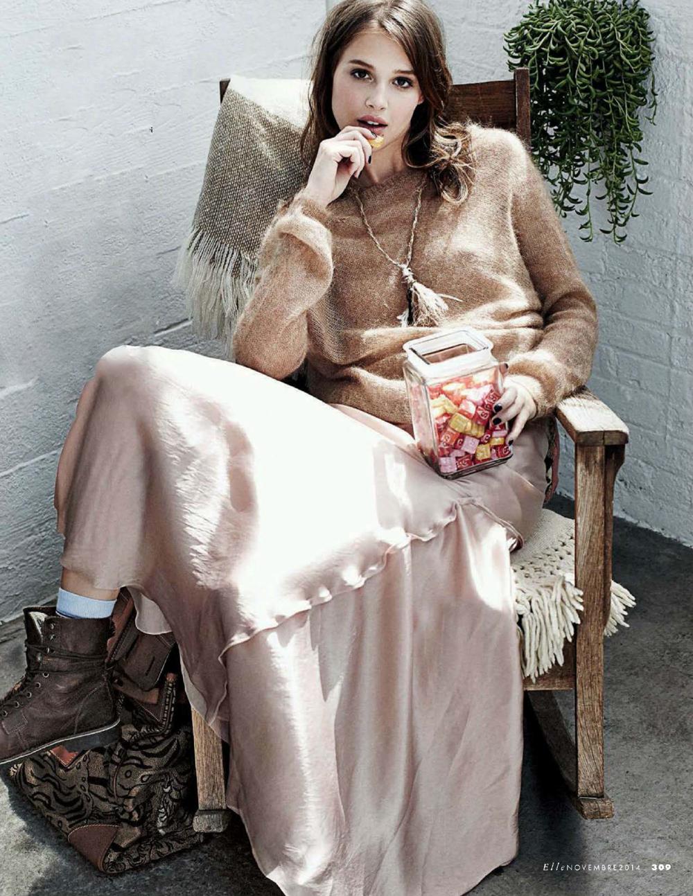 Anais Pouliot in Lanvin by Alber Elbaz in Elle Italia November 2014 (photography: Dan Martensen, styling: Eva Geraldine Fontanelli) via www.fashionedbylove.co.uk