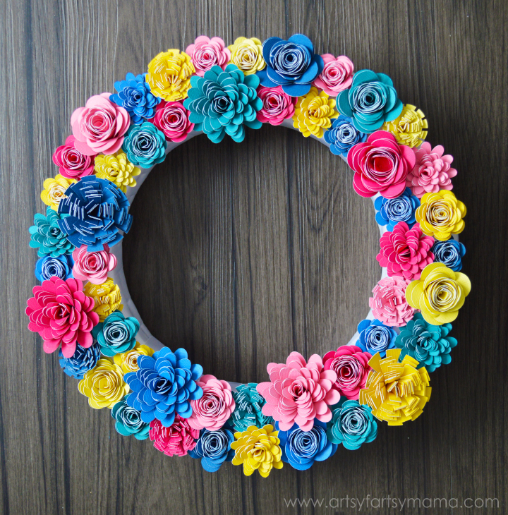 Paper flower wreath artsy fartsy mama paper flower wreath tutorial at artsyfartsymama mightylinksfo