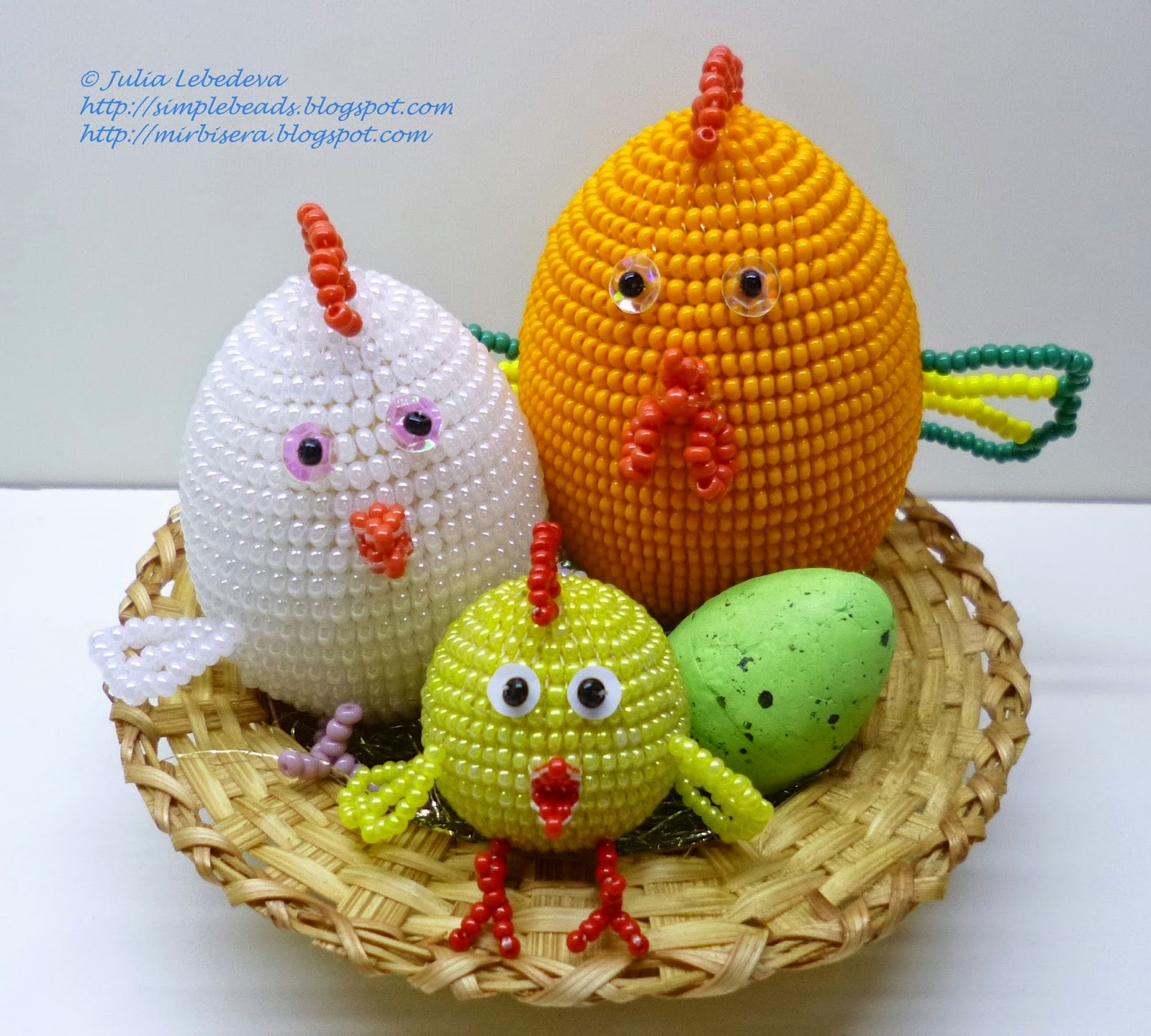 Beaded chicken family