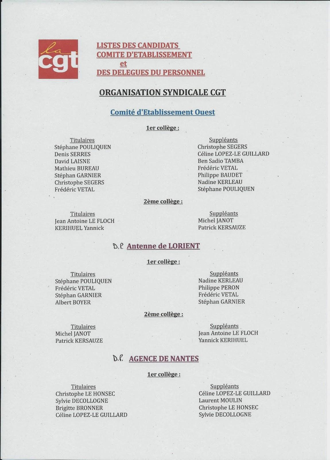 Syndicat Cgt Securite Bretagne Pays De La Loire Listes Candidats