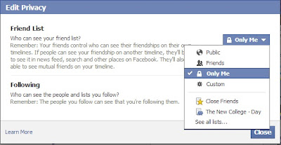 how to hide facebook friends list -privacy settings
