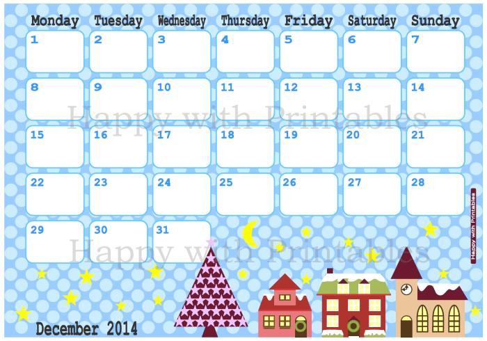 December 2014 planner, calendar, cute planner, cute calendar, Etsy Shop, Happy with printables, printables, christmas planner, christmas countdown calendar